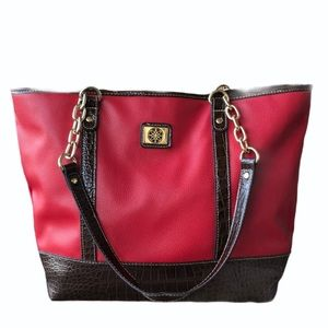 Red & Brown Faux Leather Snakeskin Tote